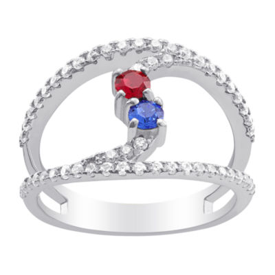 Personalized Womens Simulated Multi Color Crystal Sterling Silver Round
