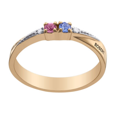 Personalized Womens Diamond Accent Simulated Multi Color Crystal 18K Gold Over Silver Round Cocktail Ring