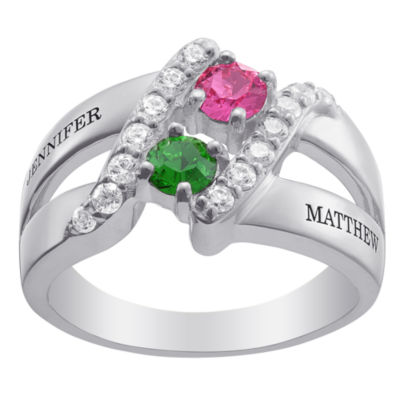 Personalized Womens Simulated Multi Color Crystal Sterling Silver Round Cocktail Ring