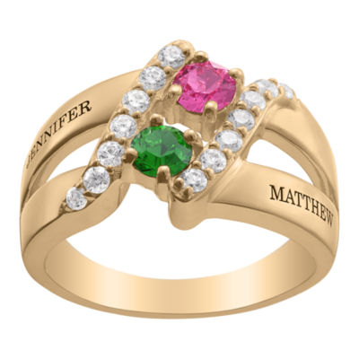 Personalized Womens Simulated Multi Color Crystal 18K Gold Over Silver Round Cocktail Ring