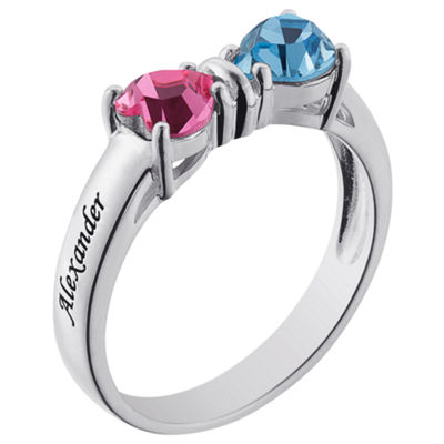 Personalized Womens Simulated Multi Color Cubic Zirconia Sterling Silver Heart Cocktail Ring
