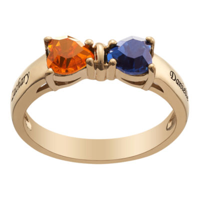 Personalized Womens Simulated Multi Color Cubic Zirconia 18K Gold Over Silver Heart Cocktail Ring