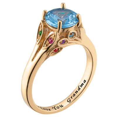 Personalized Womens Simulated Multi Color Cubic Zirconia 18K Gold Over Silver Round Cocktail Ring