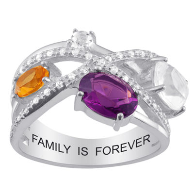 Personalized Womens Simulated Multi Color Cubic Zirconia Sterling Silver Oval Cocktail Ring