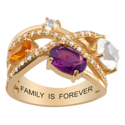 Personalized Womens Simulated Multi Color Cubic Zirconia 18K Gold Over Silver Oval Cocktail Ring