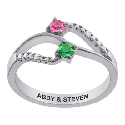 Personalized Womens Diamond Accent Simulated Multi Color Crystal Sterling Silver Round Cocktail Ring
