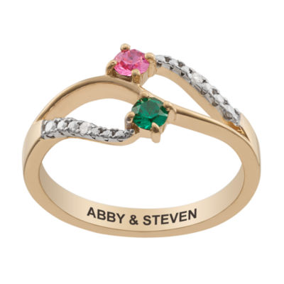 Personalized Womens Diamond Accent Simulated Multi Color Crystal 18K Gold Over Silver Round