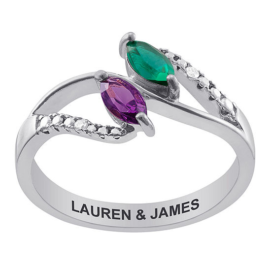 Personalized Womens Diamond Accent Simulated Multi Color Crystal Sterling Silver Oval Cocktail Ring