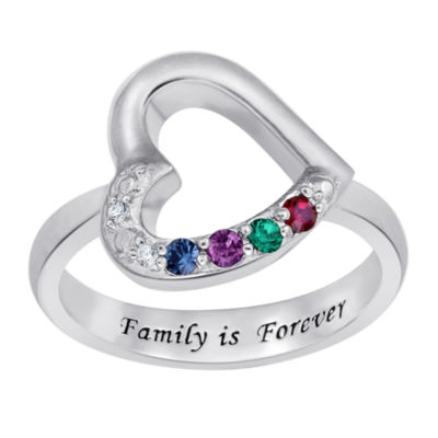 Personalized Womens Diamond Accent Multi Color Crystal Sterling Silver Heart Cocktail Ring