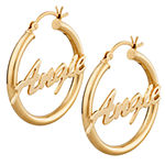Personalized 18K Gold Over Silver 31mm Hoop Earrings