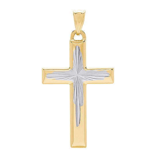 Religious Jewelry Womens 14K Two Tone Gold Cross Pendant