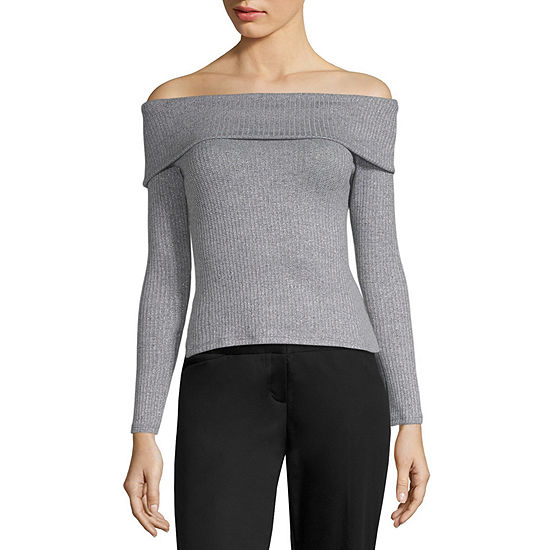 Cut And Paste Womens Long Sleeve Knit Blouse-Juniors
