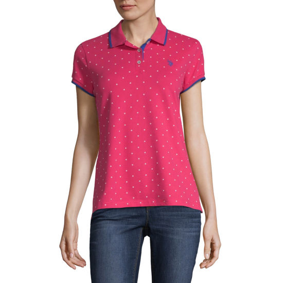 Us Polo Assn. Short Sleeve Polka Dot Knit Polo Shirt - Juniors