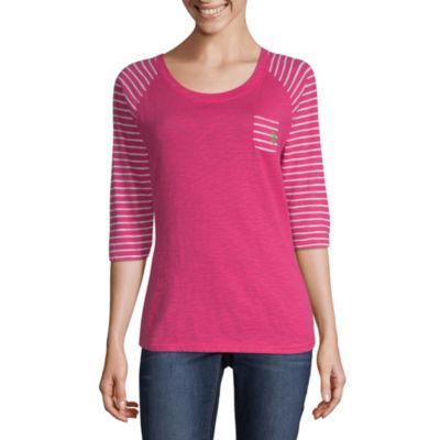 Us Polo Assn. 3/4 Sleeve Scoop Neck Stripe T-Shirt-Womens Juniors