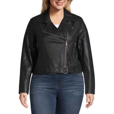 Arizona Faux Leather Belted Lightweight Motorcycle Jacket-Juniors Plus
