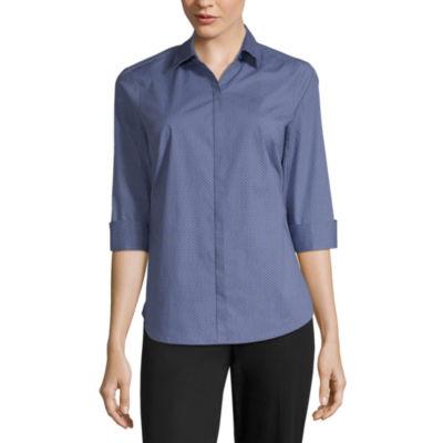 Liz Claiborne 3/4 Sleeve Button-Front Shirt