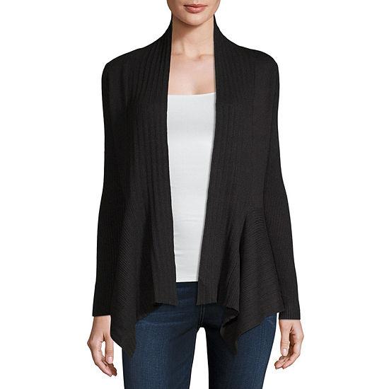 Liz Claiborne Womens V Neck Long Sleeve Open Front Cardigan