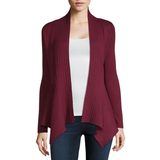 Liz Claiborne Long Sleeve V Neck Open Front Cardigan
