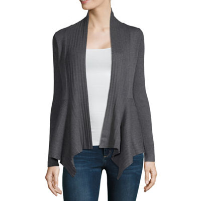 Liz Claiborne Womens V Neck Long Sleeve Open Front Cardigan