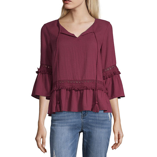 a.n.a Womens V Neck 3/4 Sleeve Blouse