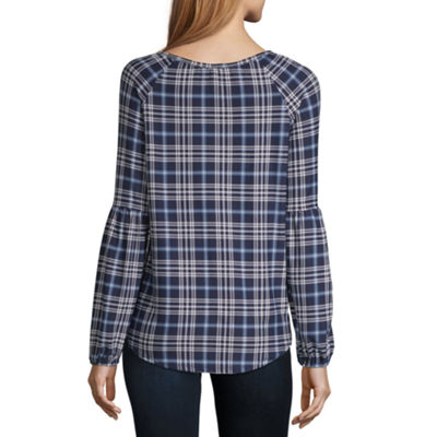 Liz And Co Long Sleeve Balloon Sleeve Plaid Peasant Top