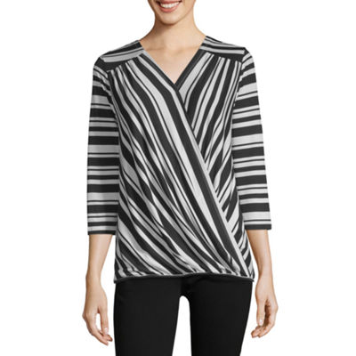 Liz And Co 3/4 Sleeve Wrap Shirt
