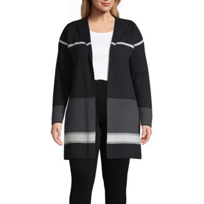 Alyx Long Sleeve Charcoal Stripe Cardigan - Plus