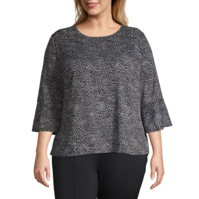 Alyx 3/4 Bell Sleeve Printed Knit Blouse - Plus