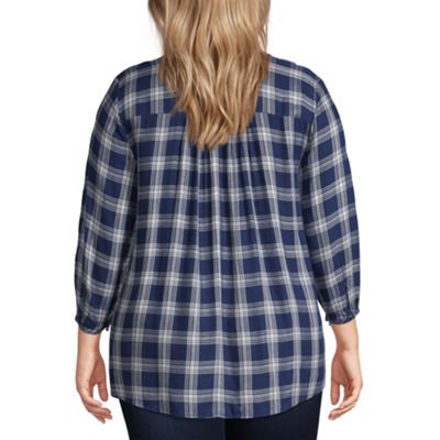 St. John's Bay Embroidered Plaid Popover Top - Plus