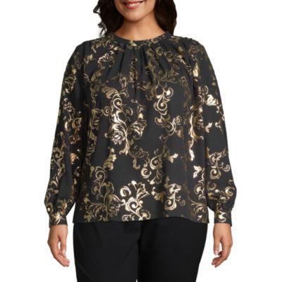 Worthington Womens High Neck Long Sleeve Woven Blouse-Plus