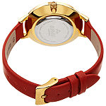 August Steiner Womens Red Leather Strap Watch-As-8263rd
