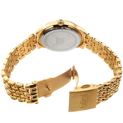 Burgi Womens Gold Tone Strap Watch-B-205yg