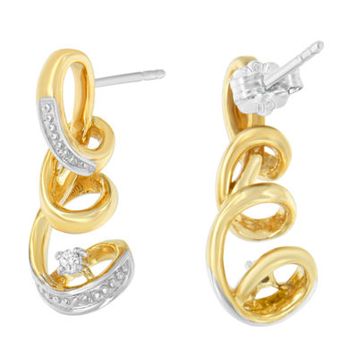Diamond Accent White Diamond 10K Two Tone Gold 20mm Stud Earrings
