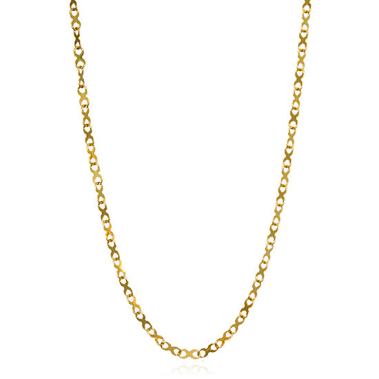 Made In Italy 14k Gold 18 Inch Solid Link Chain Necklace