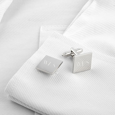 Engravable Silver Square Cufflinks