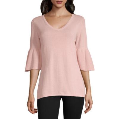 Liz Claiborne Womens V Neck 3/4 Sleeve Pullover Sweater