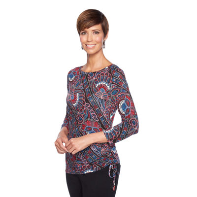 Lark Lane Must Haves III 3/4 Sleeve Boat Neck Paisley T-Shirt-Womens