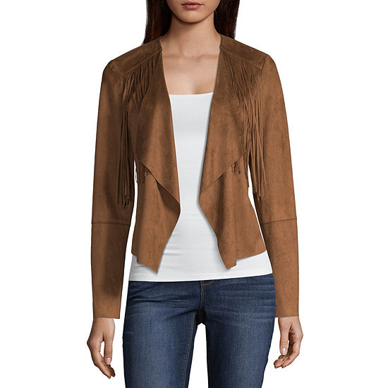 a.n.a Ana Fringe Suede Jacket Faux Suede Midweight Motorcycle Jacket