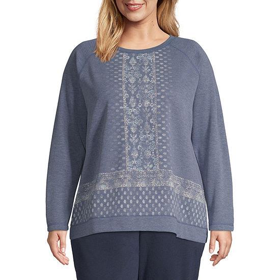 St. John's Bay Active Plus Womens Crew Neck Long Sleeve Sweatshirt