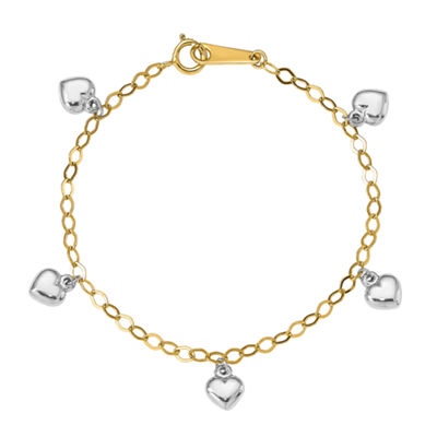 14K Two Tone Gold Heart Charm Bracelet
