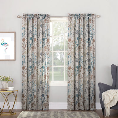 Sun Zero Emory Botanical Print Energy Saving Light-Filtering Grommet-Top Single Curtain Panel
