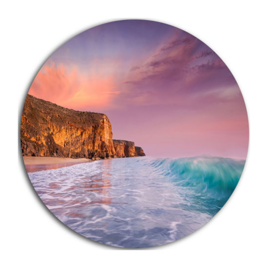 Design Art Beautiful Paradise Sunset Extra Large Seascape Metal Wall Decor
