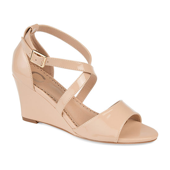 Journee Collection Womens Stacey Pumps Open Toe Wedge Heel