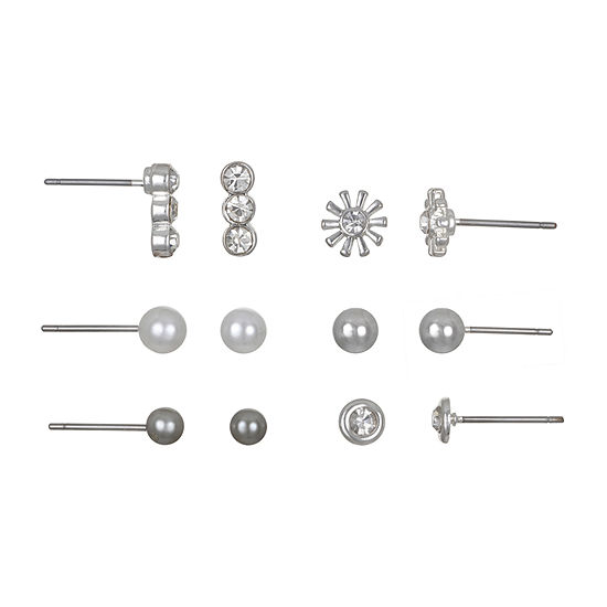 Mixit 6 Pair Round Earring Set