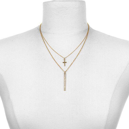 Bijoux Bar 16 Inch Link Cross Chain Necklace