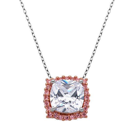 Sparkle Allure Multi Color Cubic Zirconia Bronze 18 Inch Cable Square Pendant Necklace