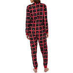 Wembley Snowman Patchwork Couples Unisex Fleece Long Sleeve Round Neck One Piece Pajama