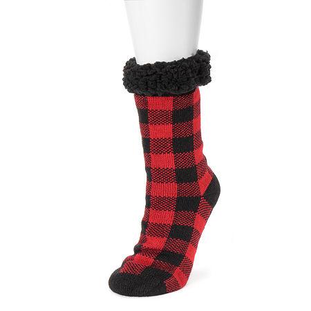 Muk Luks 1 Pair Crew Socks Womens, Large-x-large , Red