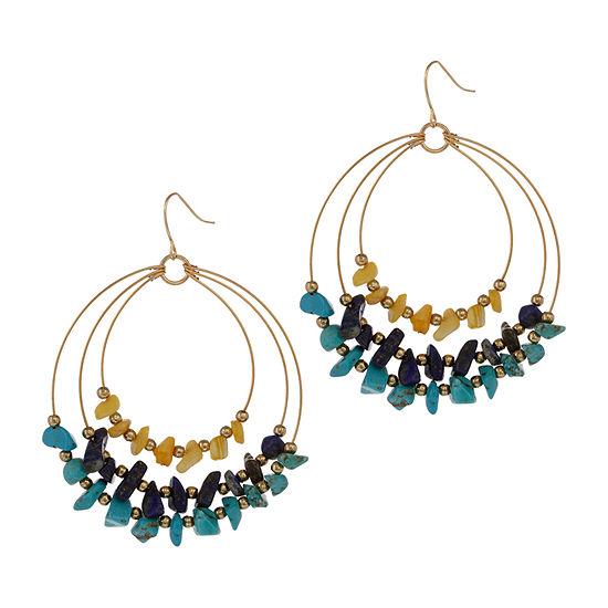 EL by Erica Lyons Gold Havana Nights Multi Color Oval Drop Earrings