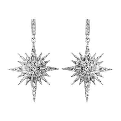 Diamonart White Cubic Zirconia Sterling Silver Star Drop Earrings